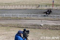 日高軽種馬共同育成公社で行われた調教ビデオ撮影
