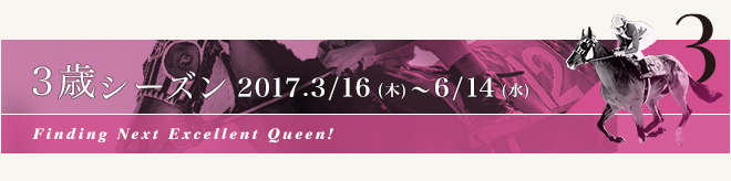 3歳シーズン 2017.3/16[木] ~ 6/14[水]Finding Next Excellent Queen!